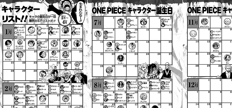 Birthday Calendar One Piece : One piece characters birthday calendar gold